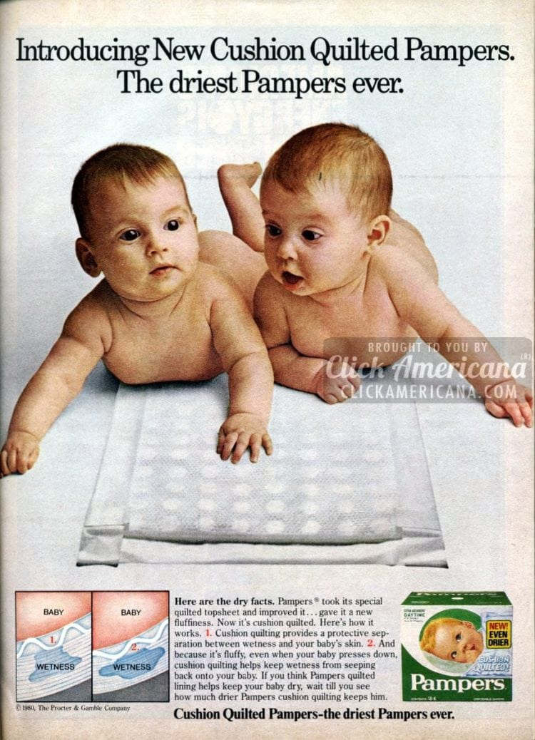 Introducing New Cushion Quilted Pampers. The driest Pampers ever. (1981)