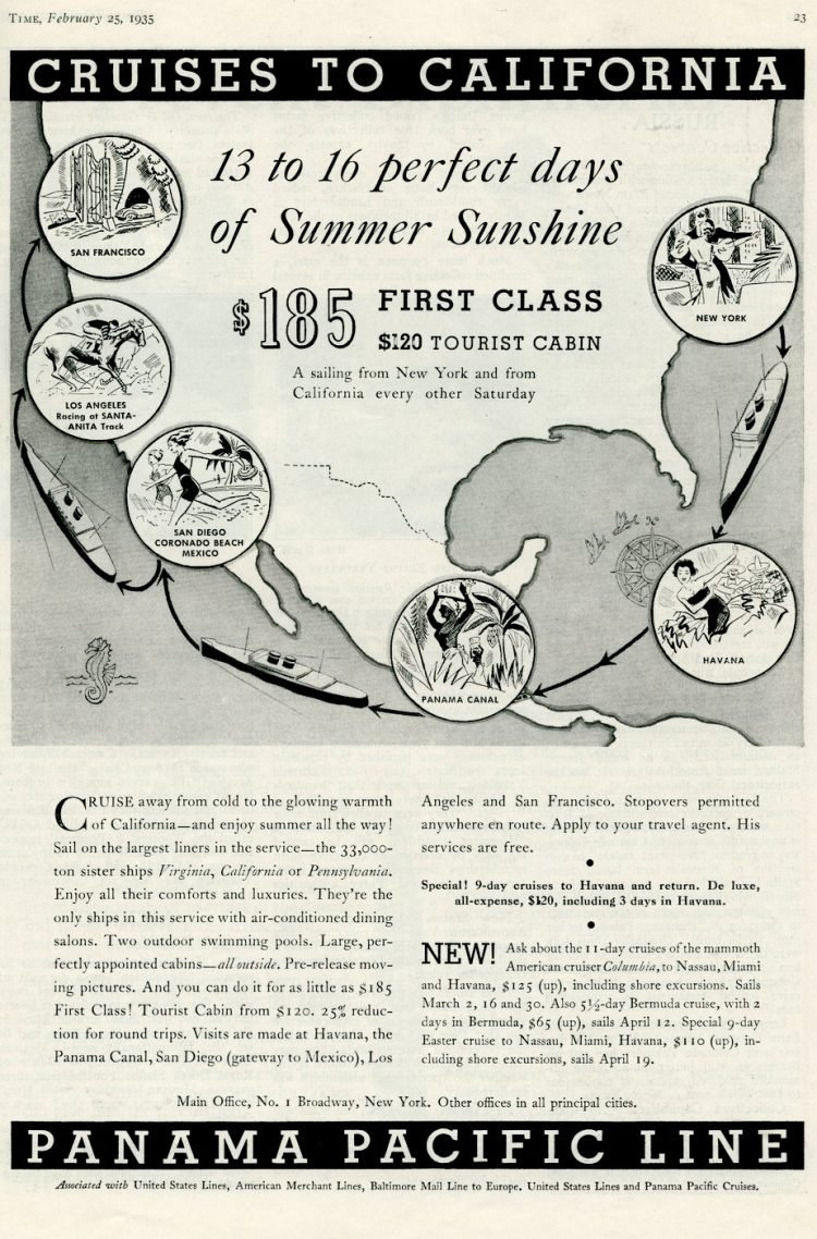 panama pacific line cruises to california 1935