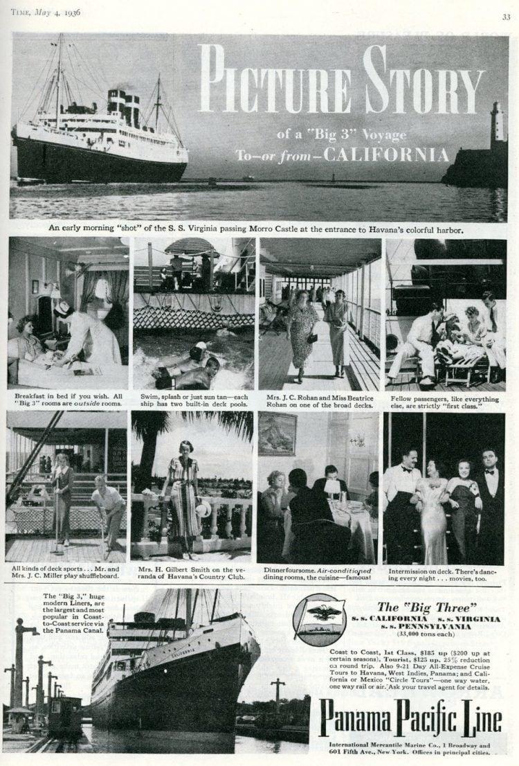 panama pacific line the big three vintage liners to california 1936