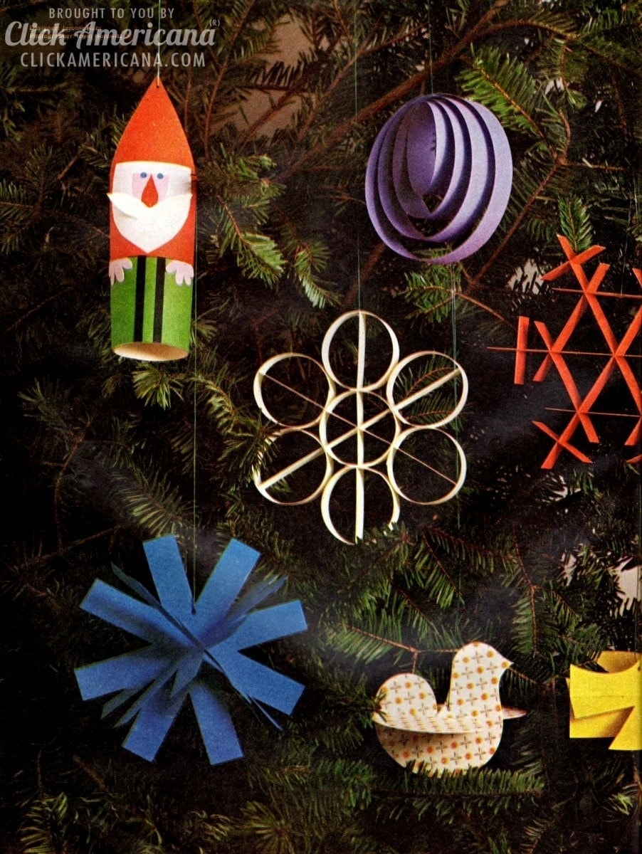How to craft clever Christmas ornaments from paper! (1960)