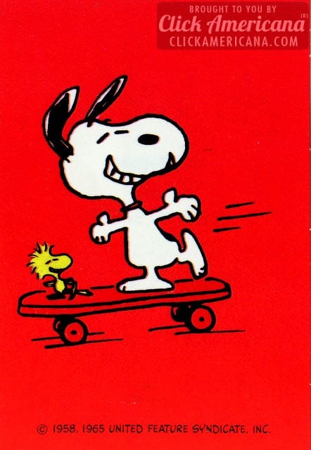 Vintage Valentine's Day card: Snoopy on a skateboard 2