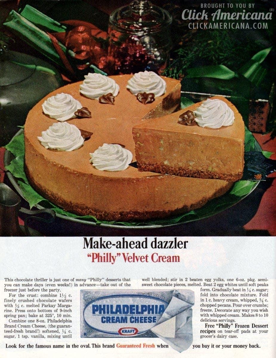 Philly velvet cream chocolate cheesecake (1964)