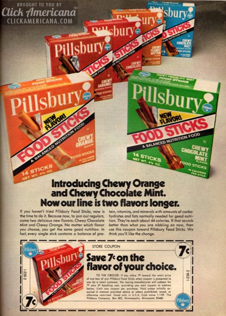 Pillsbury Space Food Sticks flavors from 1972