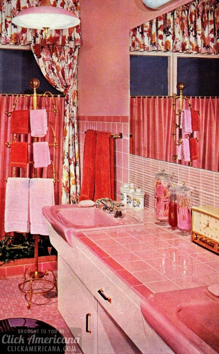 Retro pink bathroom styles of the 1950s - Click Americana