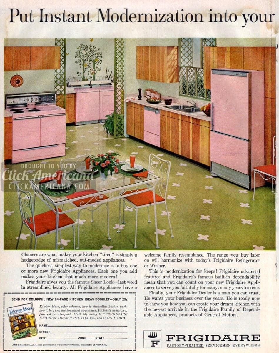 Pink & yellow kitchens from Frigidaire (1962)