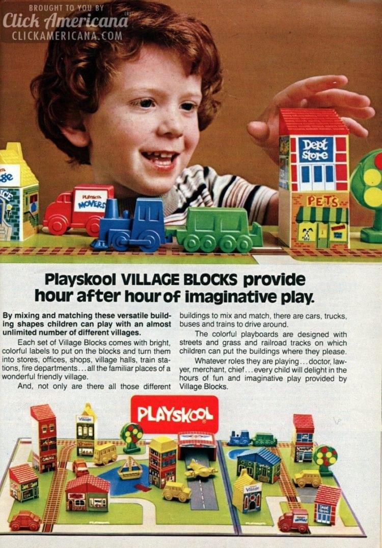 Vintage 80s Playskool Village Blocks
