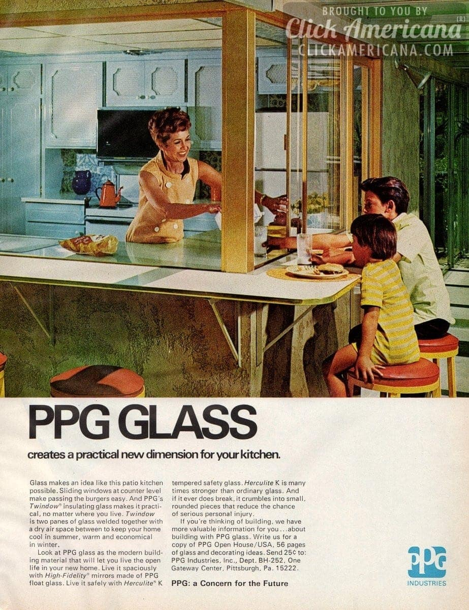 Glass makes a patio kitchen possible (1972)