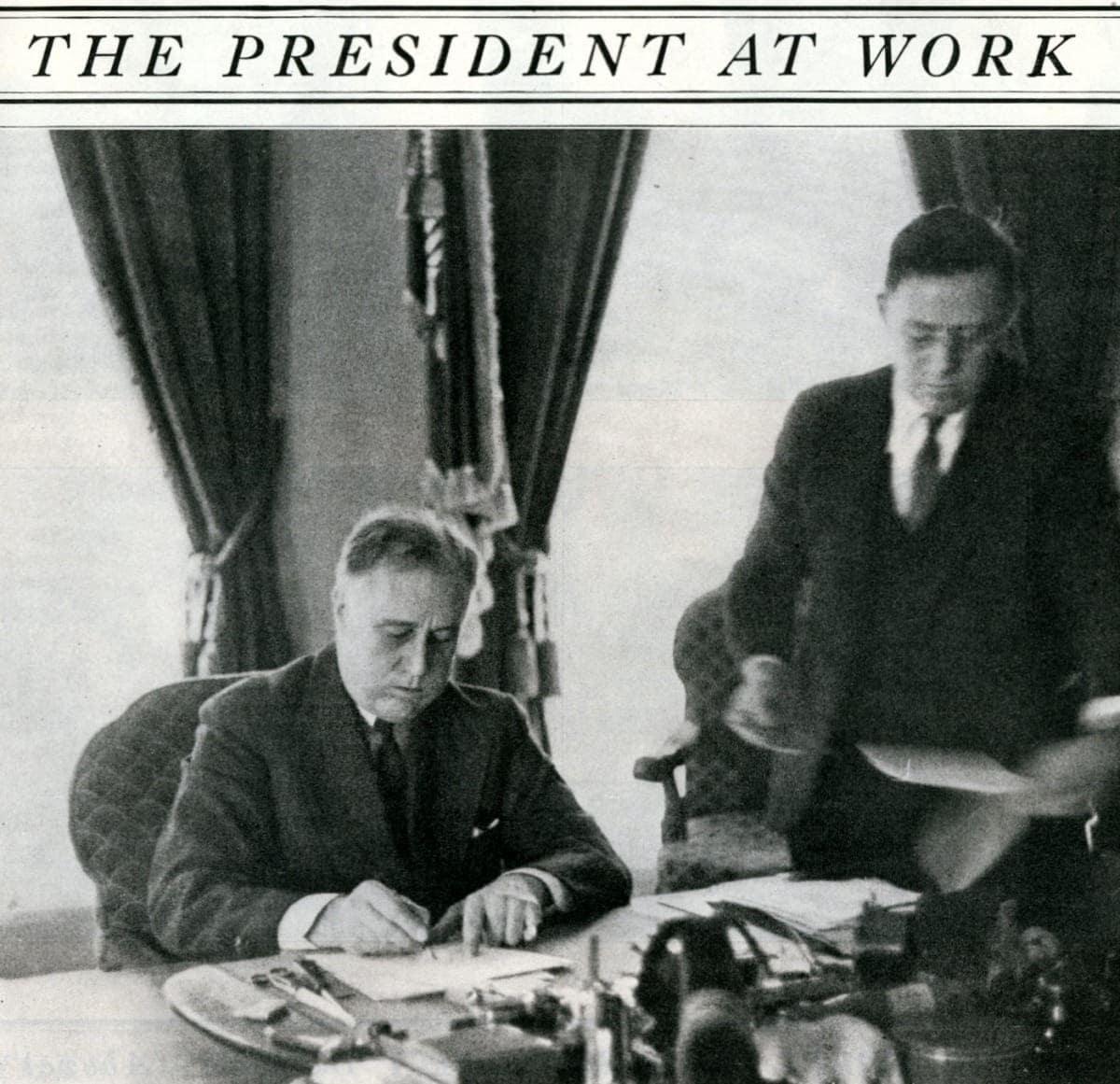 Franklin D Roosevelt at work
