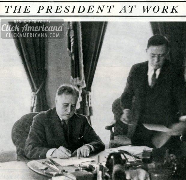 See President Franklin D Roosevelt at work (1935)