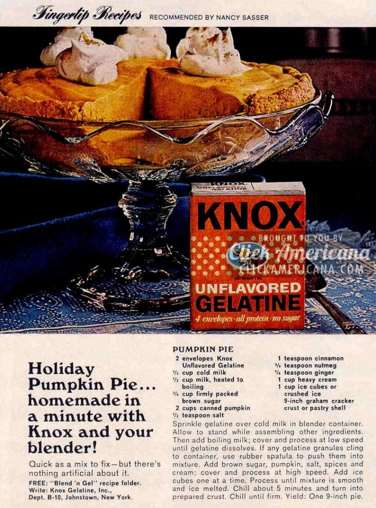 Holiday pumpkin pie recipe Quick homemade pie you make with a blender (1967)