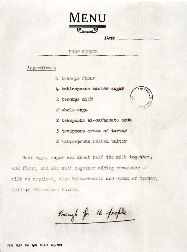 Queen Elizabeth's drop scones recipe (1960)
