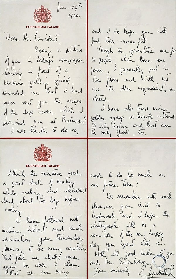 Queen Elizabeth sends Eisenhower her drop scones recipe (1960)