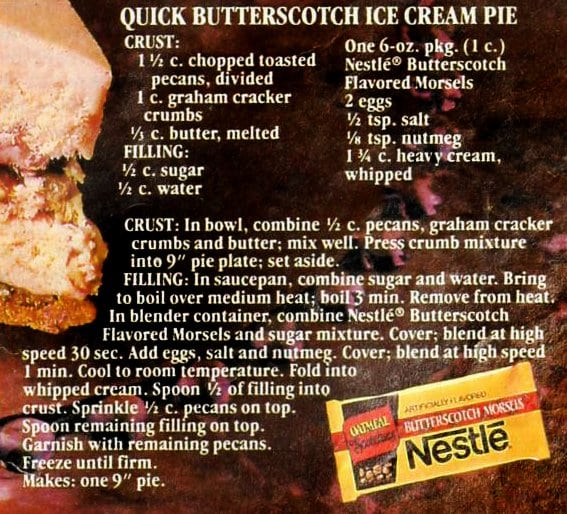 quick butterscotch ice cream pie recipe