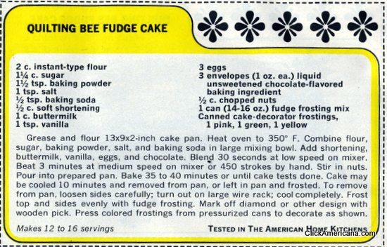 Quilting Bee Fudge Cake recipe