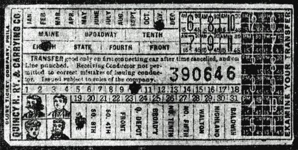 Latest street car transfer ticket (1905)