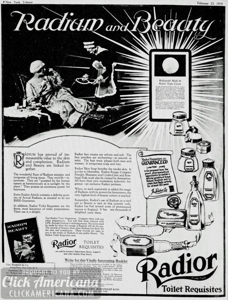 Radium-infused vanishing cream & face powder (1919)