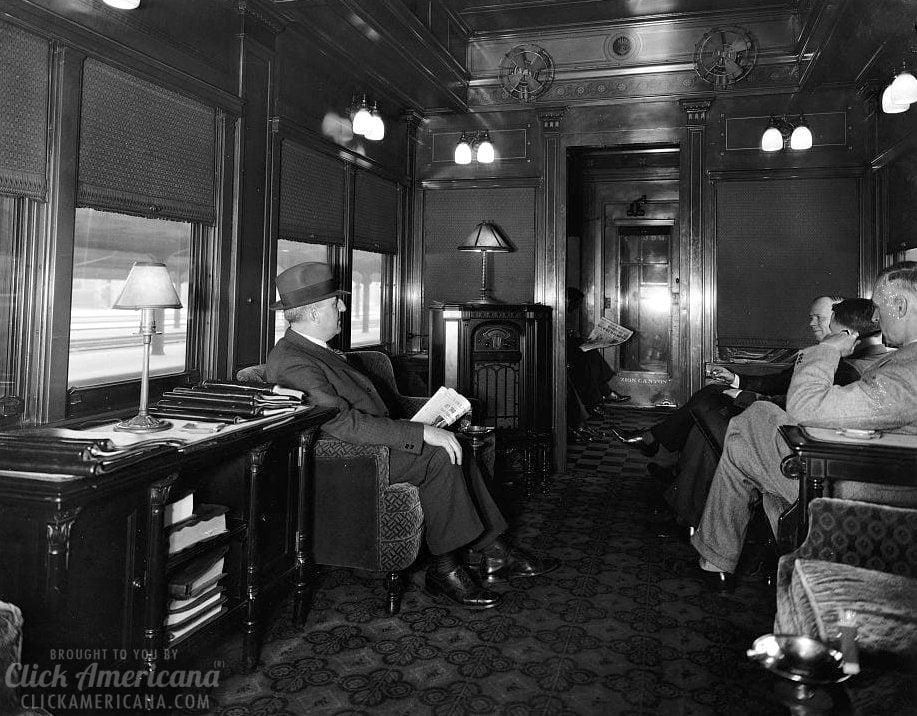 Inside vintage train cars: See a Deluxe Overland Limited Train (1910s)