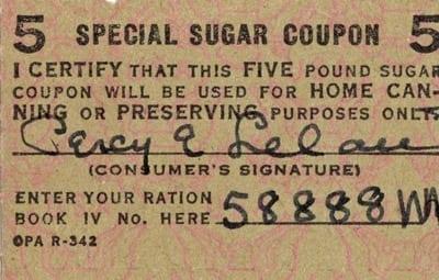Sugar ration coupon