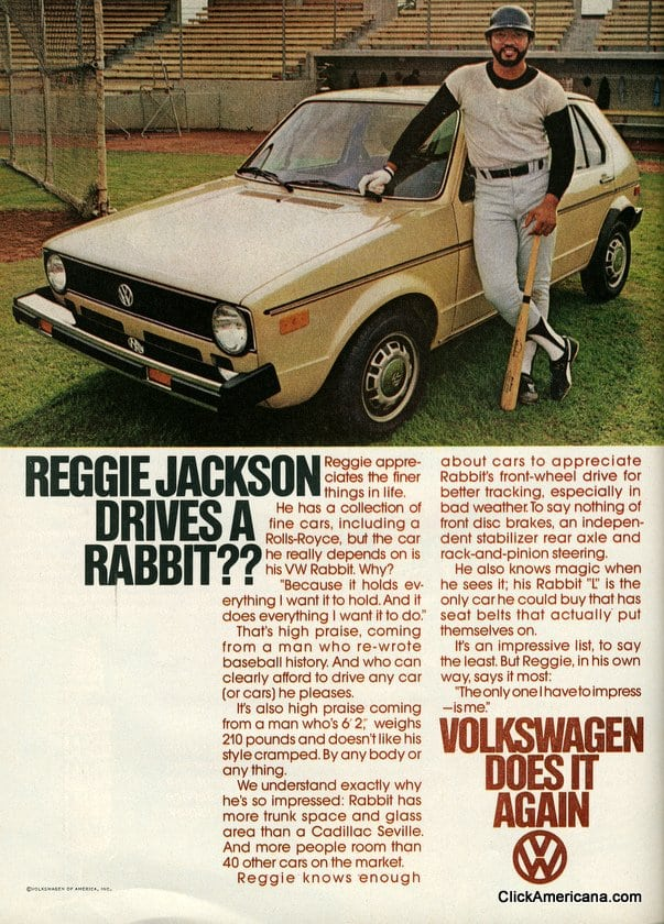 Reggie Jackson drives a Rabbit? (1978)