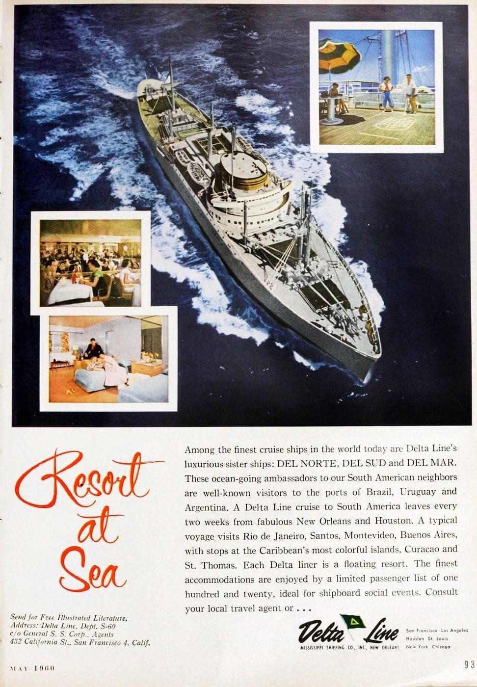 retro delta line resort at sea to south america 1960