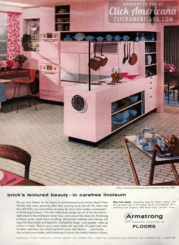 White brick linoleum floors for your pink kitchen 1956 click americana - Retro flooring kitchen ...