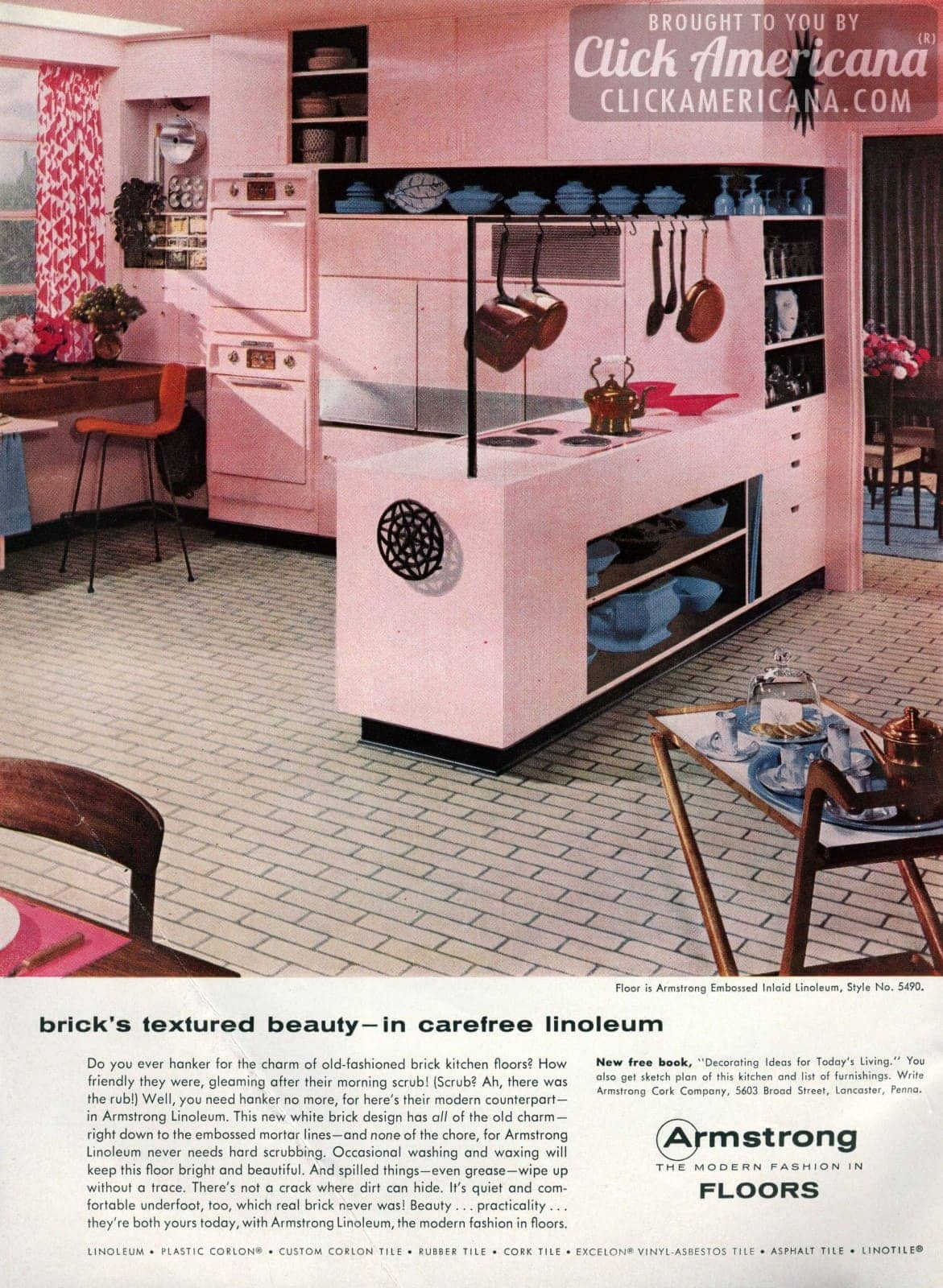 White brick linoleum floors for your pink kitchen (1956)