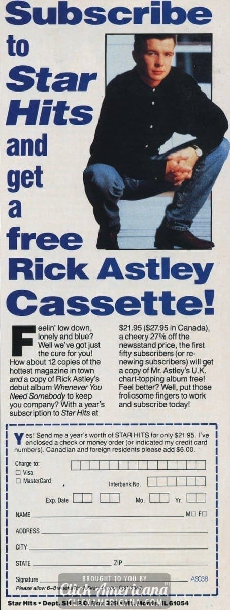 Rickrolled? Subscribe to Star Hits & get Rick Astley (1988)