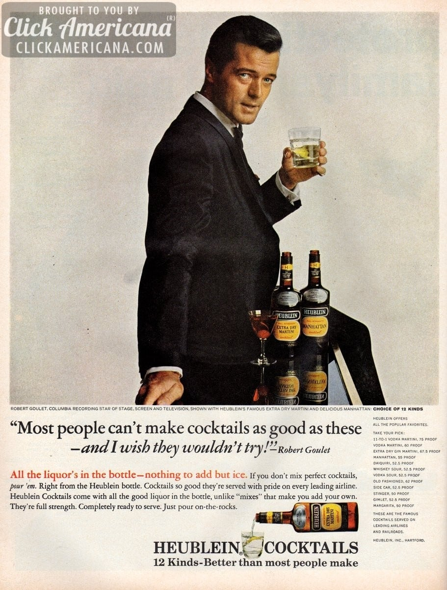 Robert Goulet for Heublein Cocktails (1965) - Click Americana