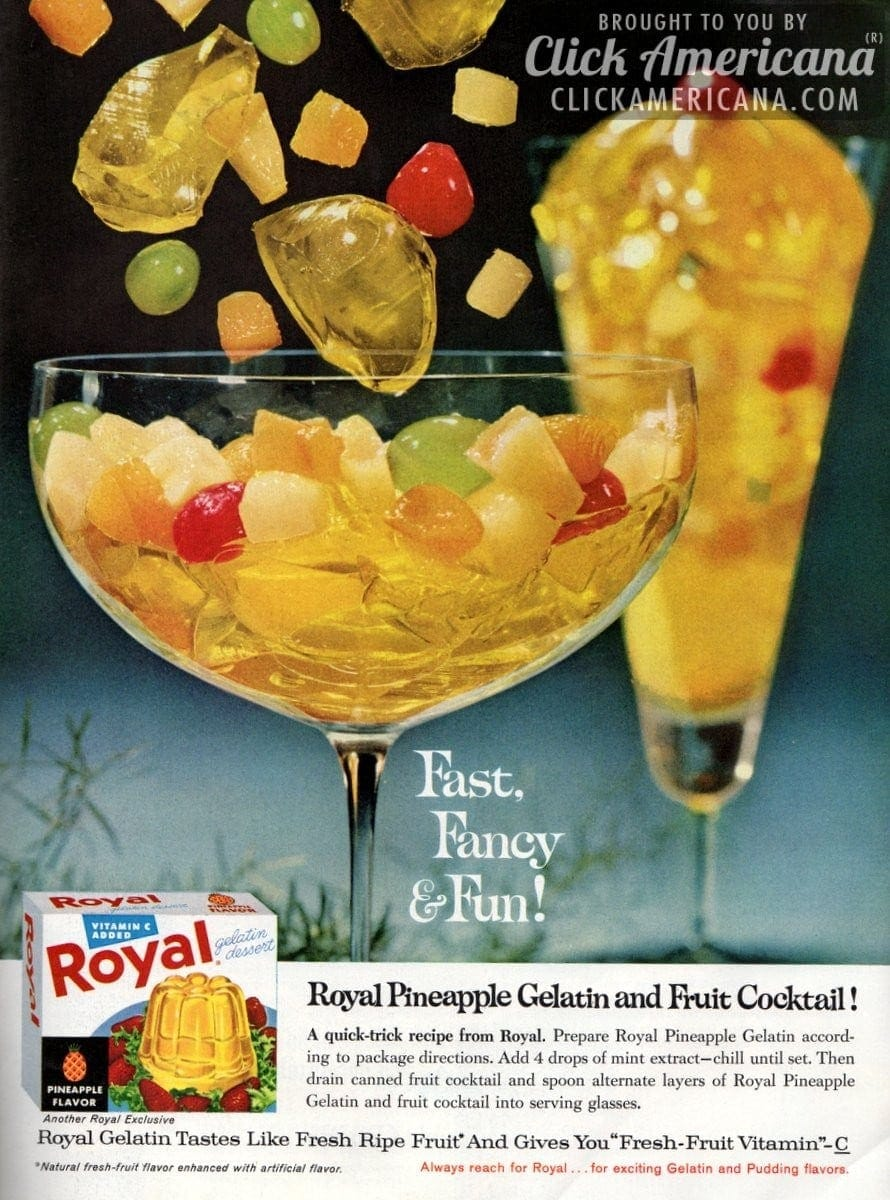 Royal pineapple gelatin & fruit cocktail dessert (1962)