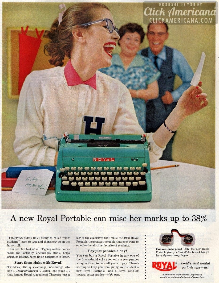 1958 Royal: Greatest portable typewriter to ever go to school