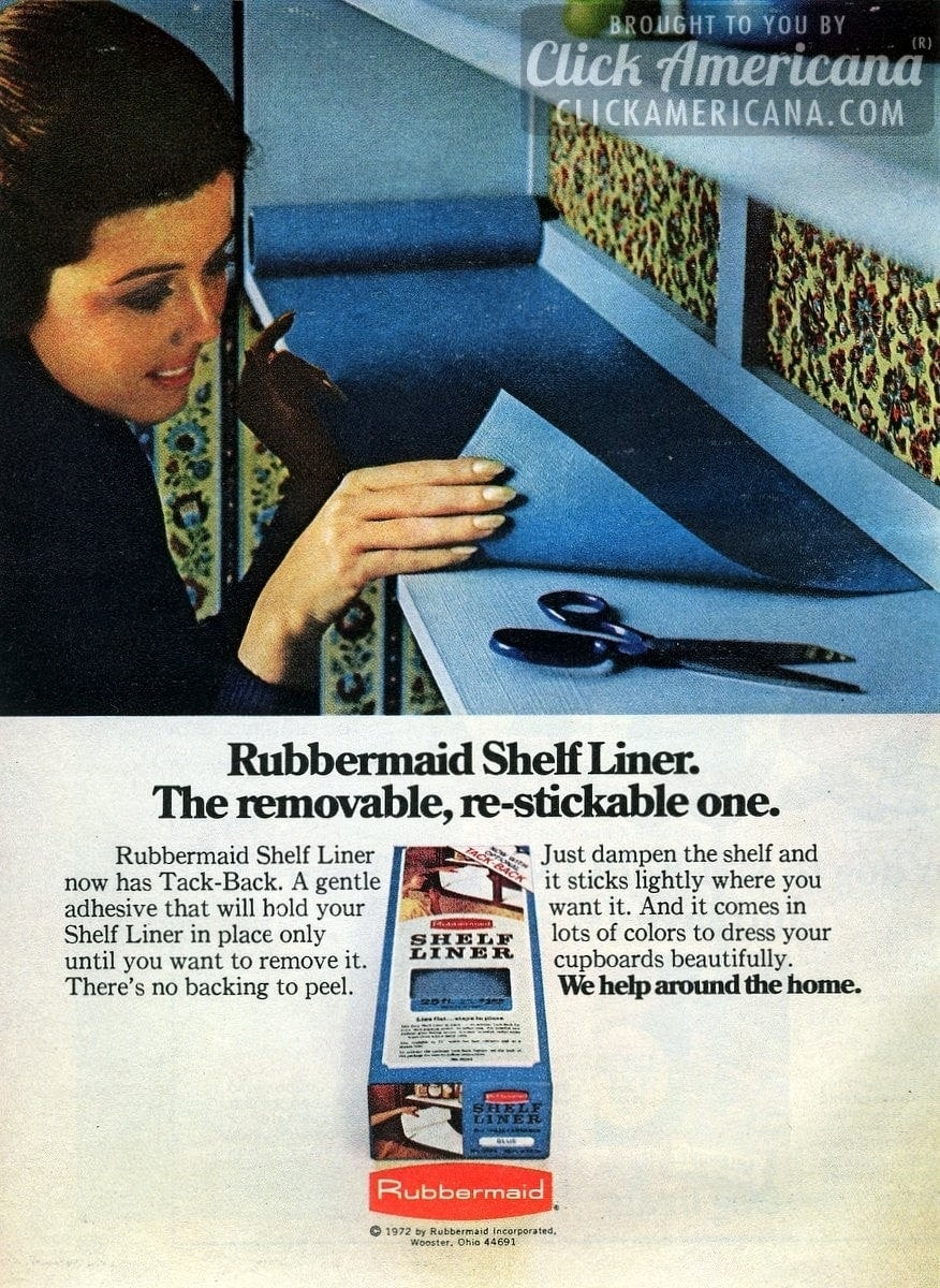 Removable, re-stickable Rubbermaid Shelf Liner (1972)