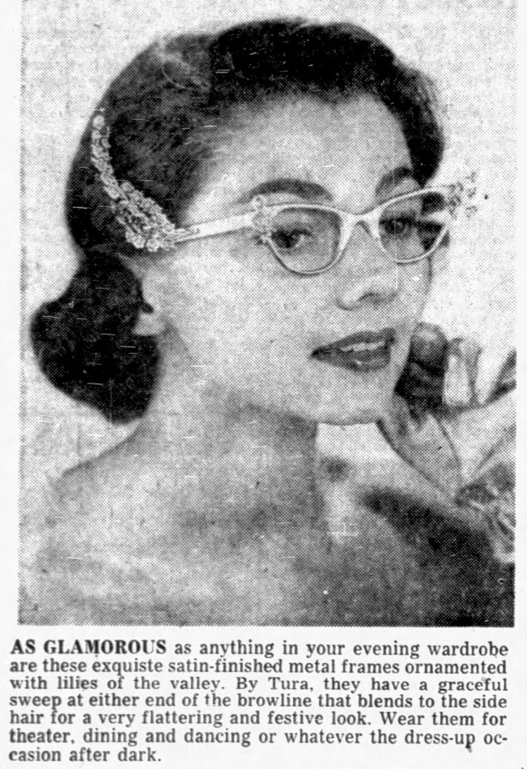 Vintage-style eyeglasses with satin-finished metal frames ornamented with lilies of the valley 1956