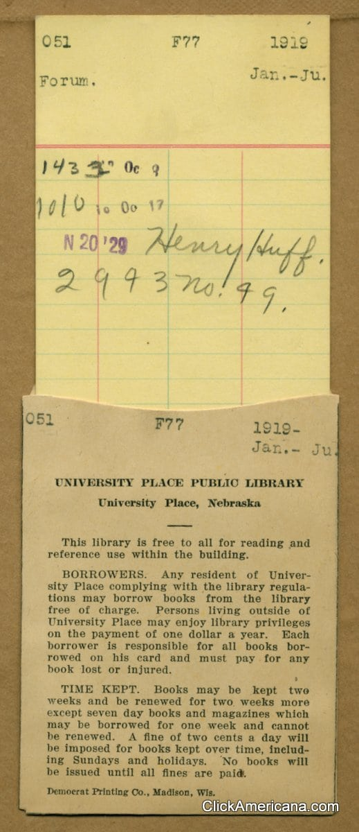A very overdue library book from 1929