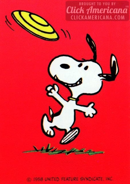 Vintage Valentine's Day card: Snoopy catching a frisbee