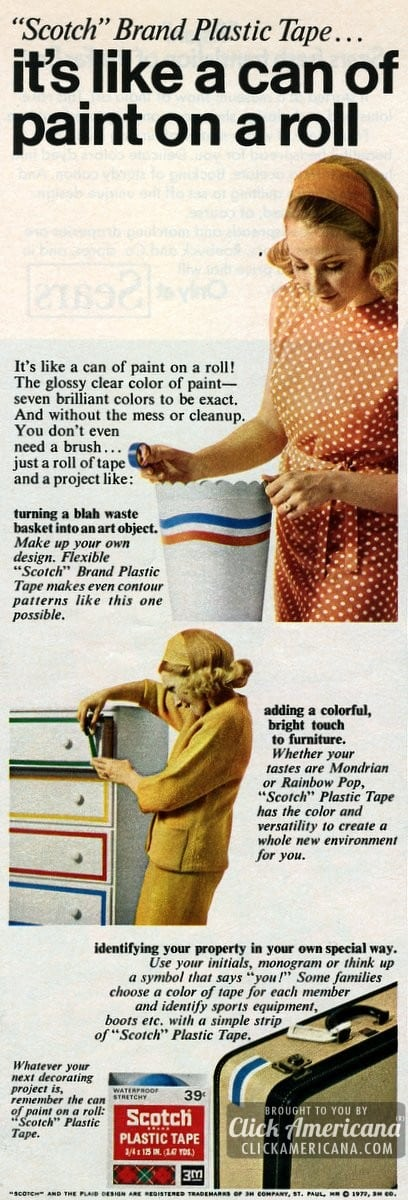 Scotch colored tape: Like a can of paint on a roll (1972)