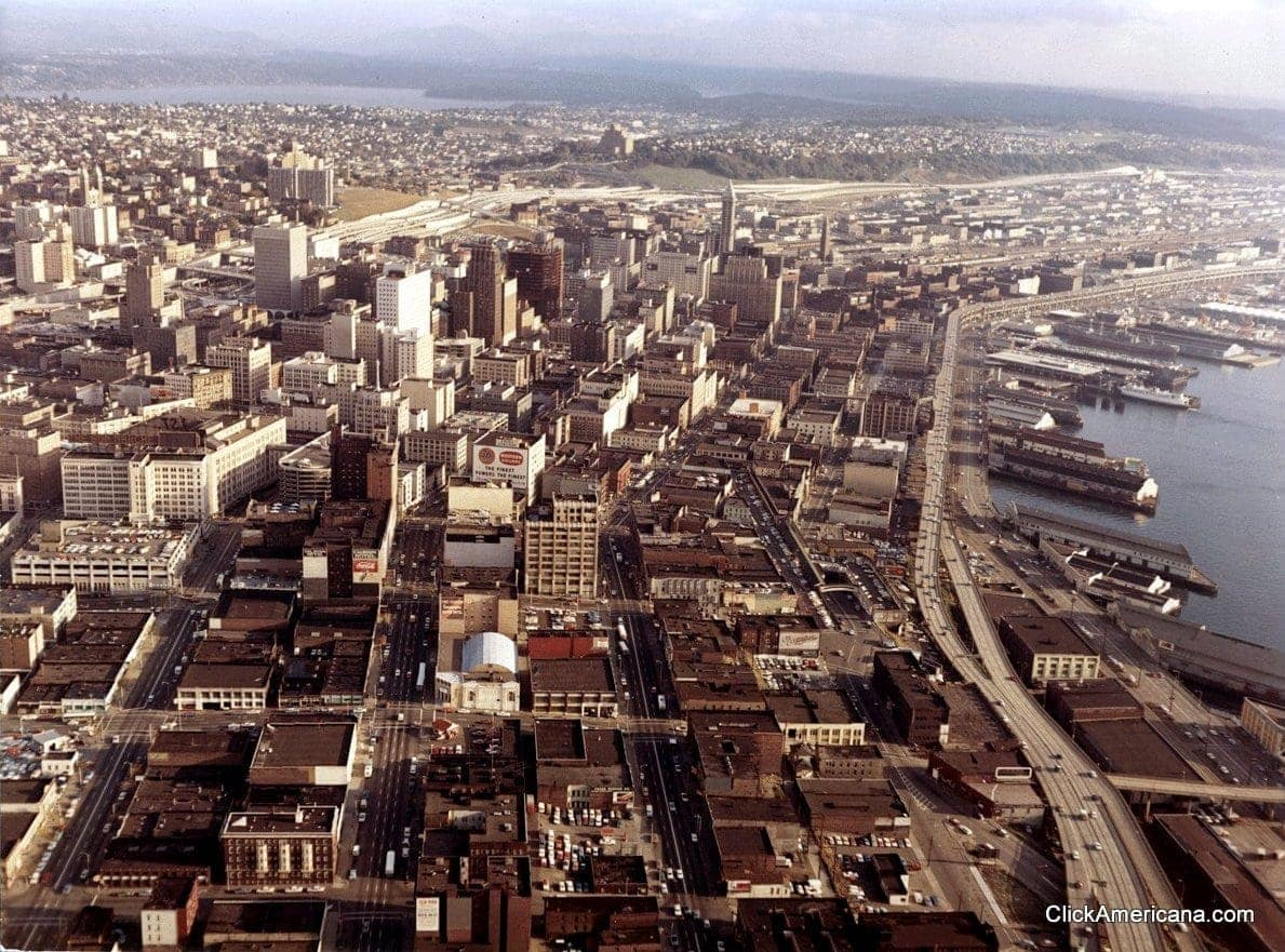 Two old aerial views of Seattle (1967)