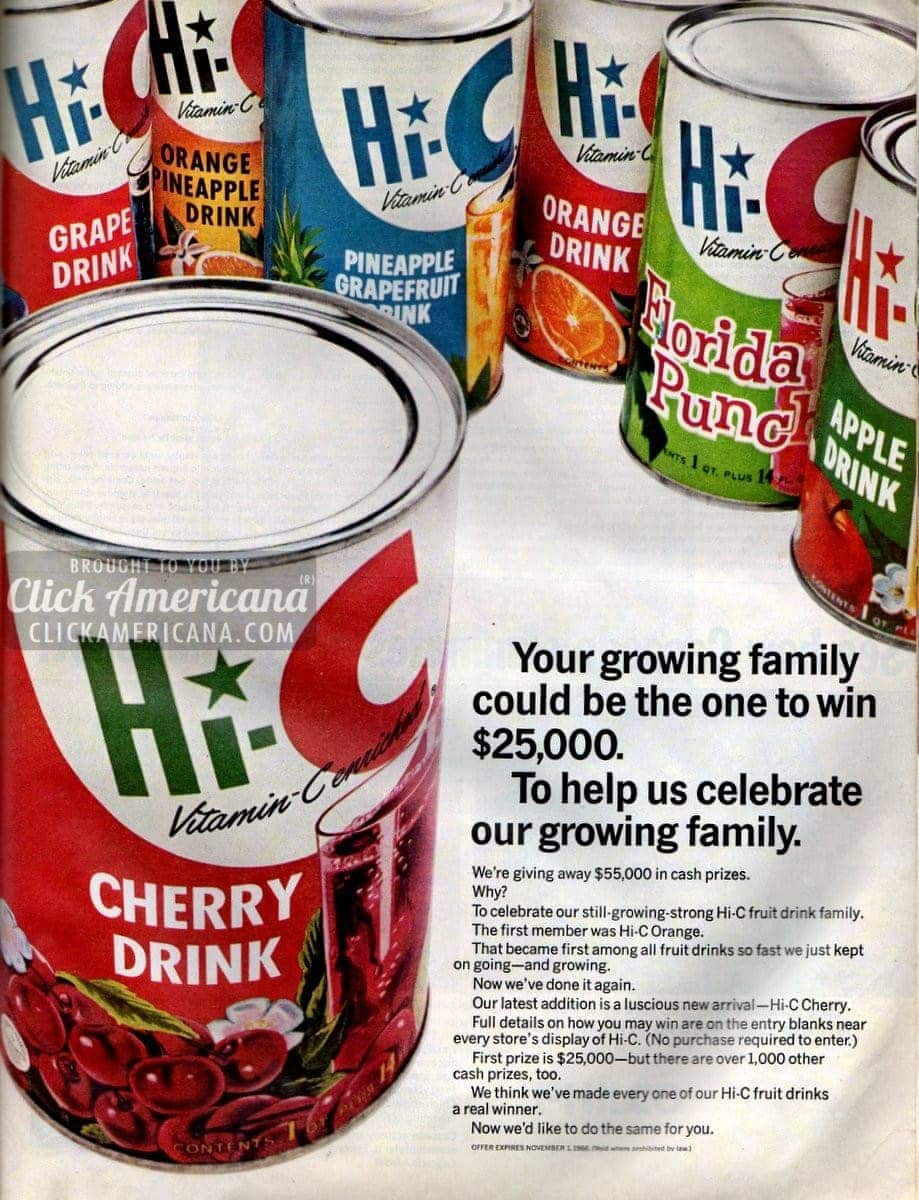 Introducing Hi-C Cherry drink (1966)