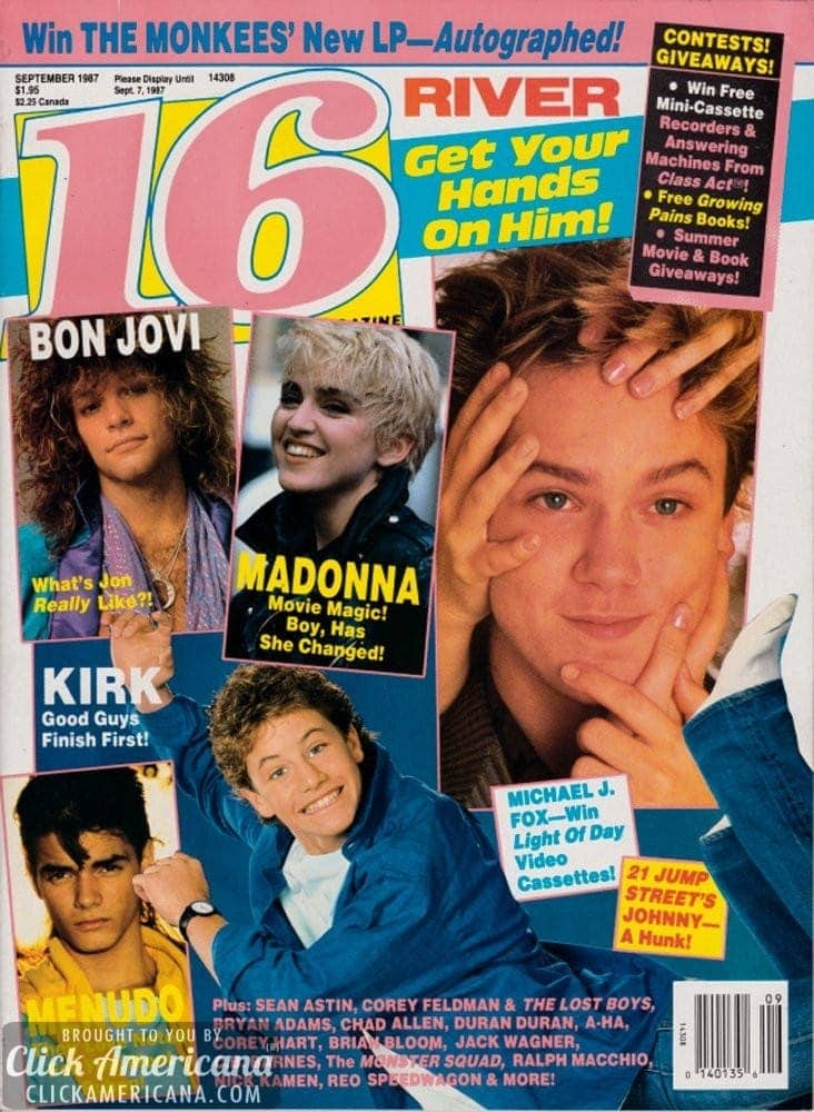 Sixteen covers of 16 magazine from the '80s
