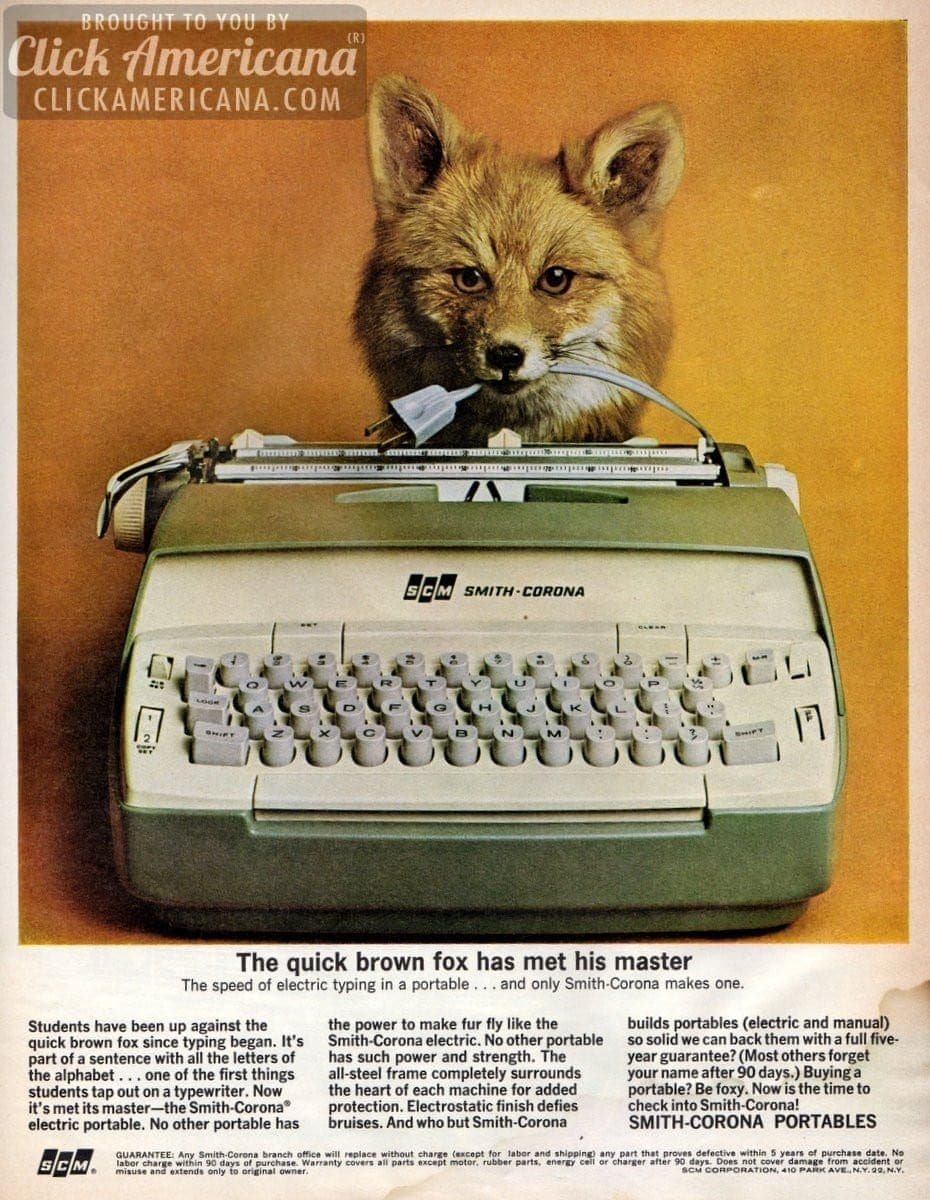 Quick brown fox: Smith-Corona portable typewriters (1964)