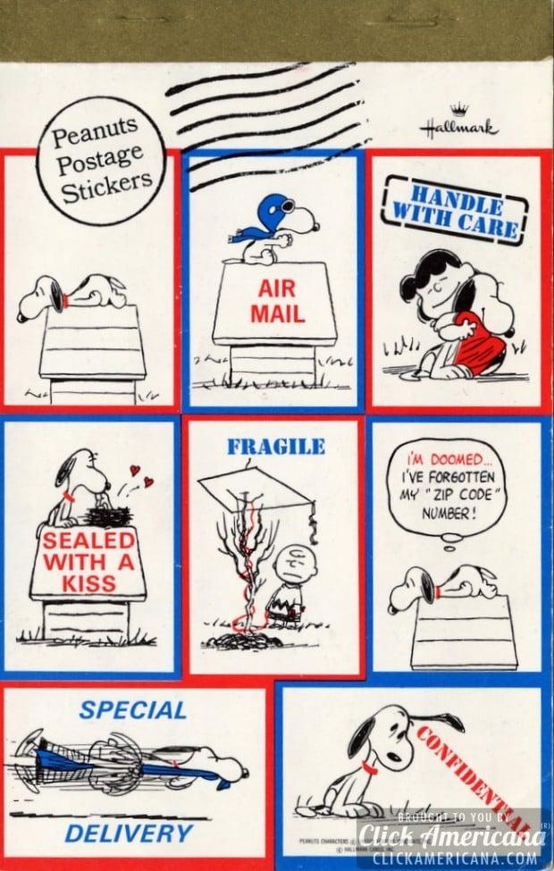 Classic Peanuts postage sticker set (Hallmark) - 1960s