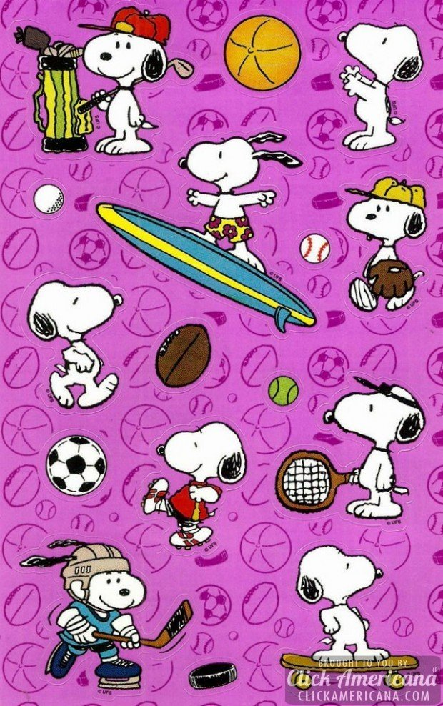 snoopy-sports-surfing-sticker-sheet