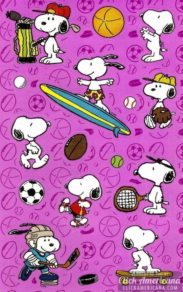 Snoopy/Peanuts sticker sheet - sports