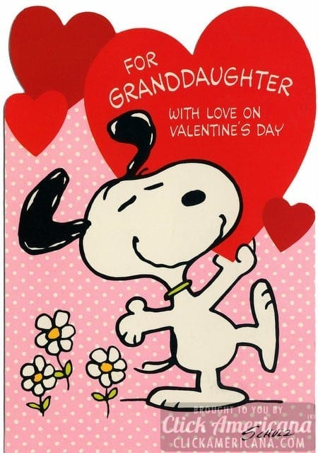 Peanuts Vintage Snoopy Valentines Day cards Click Americana – Granddaughter Valentine Card
