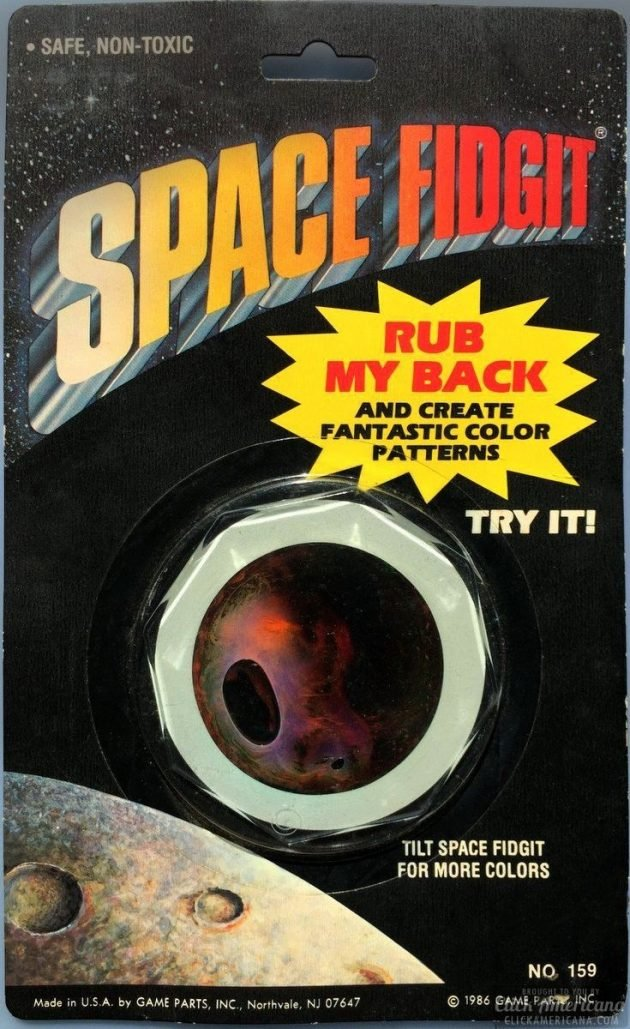 Space Fidgit (space fidget) toy packaging from the '80s