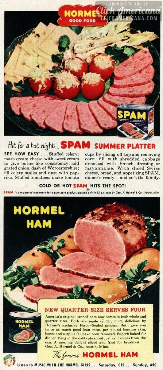 Spam summer platter recipes (1950)