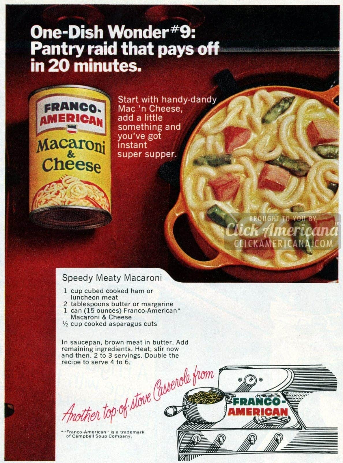 Speedy Meaty Macaroni & Cheese recipe (1969)