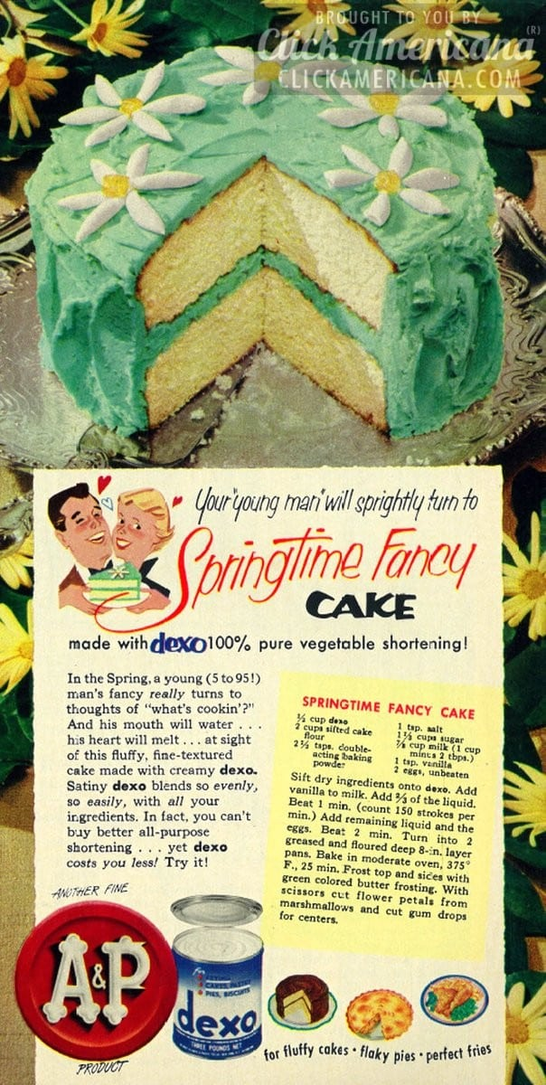 Your young man will love this Springtime Fancy Cake (1953)