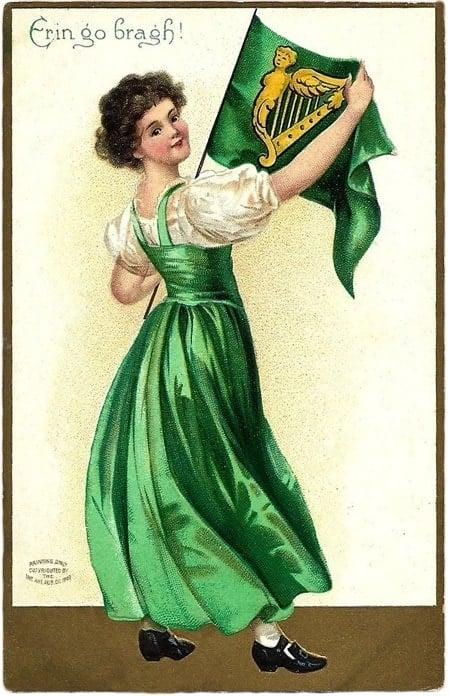 Vintage St Patrick's Day postcard - Erin go bragh!
