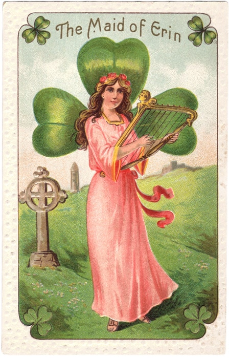 Vintage St Patrick's Day postcards - The Maid of Erin playing a harp