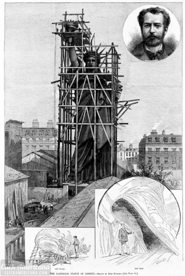 Statue of Liberty construction - scaffolding